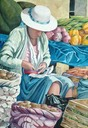 "Woman and Vegetables 29"" x 21"""